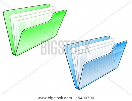 Vector version. Computer folder icon in two colors for web design