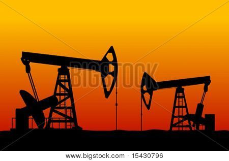Vector version. Oilfields as a concept of oil industry