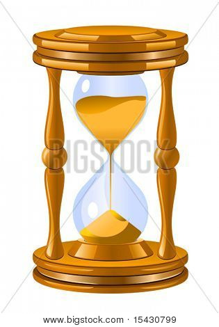 Vector version. Isolated antique hourglass icon as a time concept