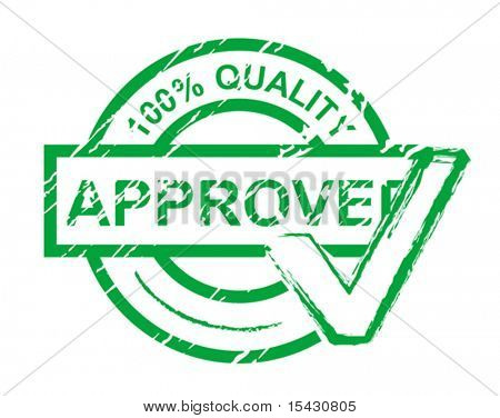 Vector version. Check approved stamp isolated on white for design