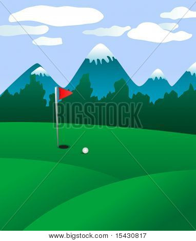 Vector version. Golf field landscape as a concept of golf game