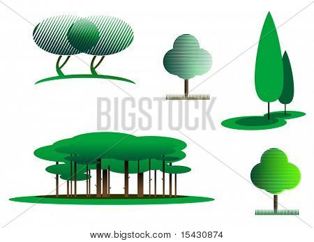 Jpeg version. Set of tree symbols as a signs or emblems. Vector version also available