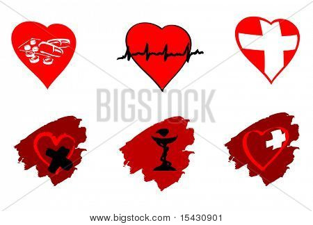 Jpeg version. Medicine icons and signs isolated on white. Vector version is also available