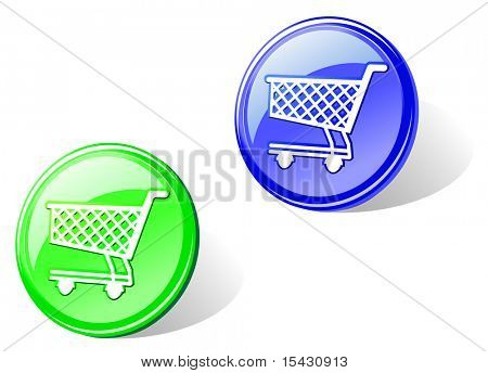 Jpeg version. Glossy shopping cart in two colors for web design. Vector version is also available