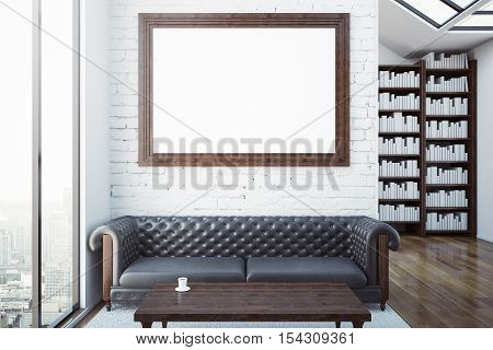 Creative room with blank picture frame luxurious brown leather sofa coffee table bookshelves and city view. Modern library concept. Mock up 3D Rendering