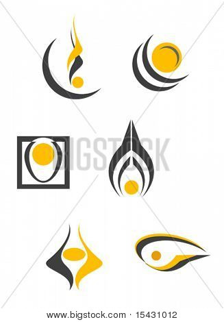 Vector version. Set of color abstract symbols isolated on white. Jpeg version is also available