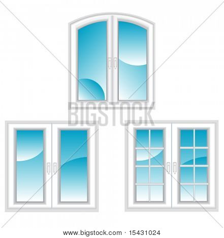 Vector version. Plastic polymer windows isolated on white for design. Jpeg version is also available