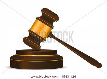 Vector version. Gavel symbol as a concept of law or auction. Jpeg version is also available
