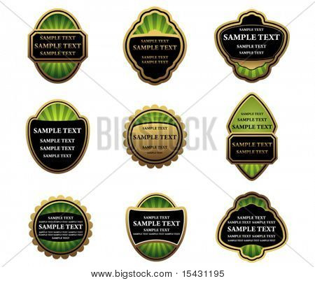 Vector version. Set of gold labels for design food and beverages. Jpeg version is also available