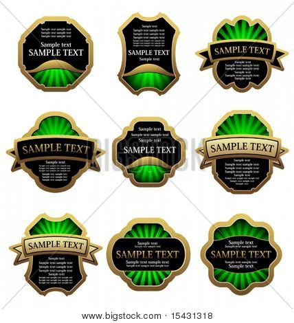 Vector version. Set of golden vintage labels for design food and beverages. Jpeg version is also available