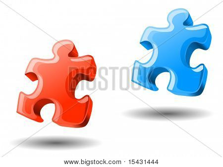 Puzzle elements in two colors for design. Vector version is also available
