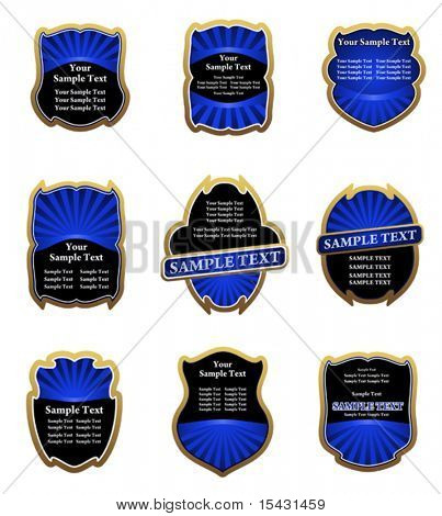 Vector version. Set of blue vintage labels for design food and beverages. Jpeg version is also available