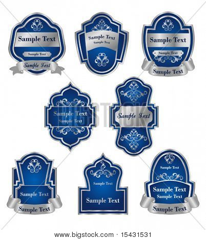 Vector version. Set of vintage silver labels for design food and beverages. Jpeg version is also available