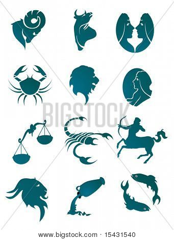 Jpeg version. Set of horoscope symbols for design isolated on white. Vector version is also available
