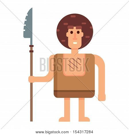 Caveman primitive stone age cartoon neanderthal Stone age people vector