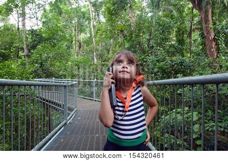 Child Listen To Information Daintree National Park Queensland  Australia
