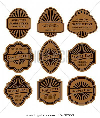 Vector version. Set of vintage brown labels for design food and beverages. Jpeg version also available