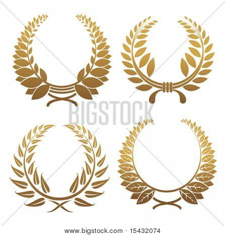 Vector version. Set of gold and black laurel wreaths. Jpeg version also available