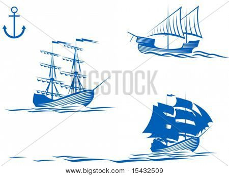 Set of sail ships isolated on white for design. Jpeg version also available
