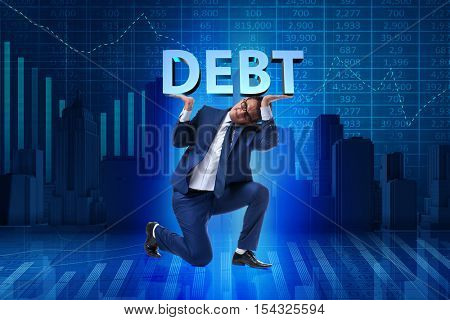 Businessman in debt business concept