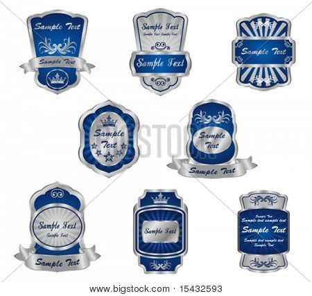 Set of vintage silver labels. Jpeg version also available