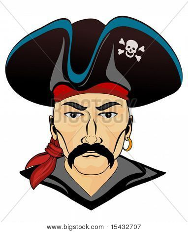 Head of pirate in black hat as a danger symbol. Jpeg version also available