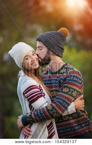 boyfriend and girlfriend, kiss in winte