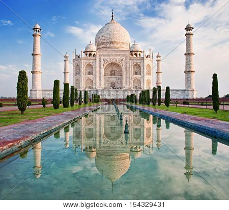 Taj Mahal in sunrise light Agra India