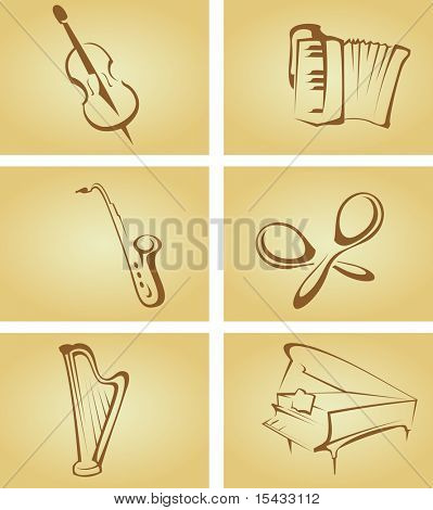 Set of vintage cards with musical instruments. Vector version also available