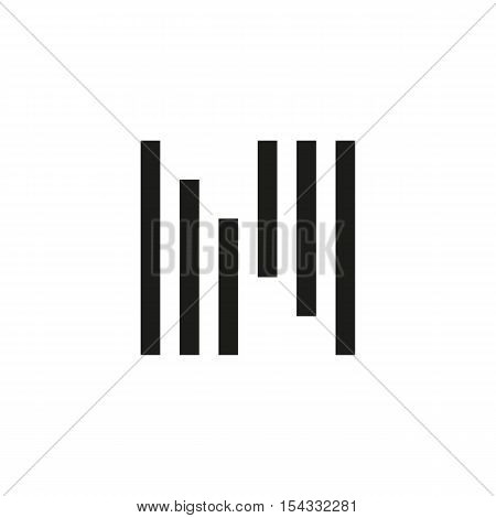 Unusual geometric letter N. Architecture vector logo. Isolated monogram