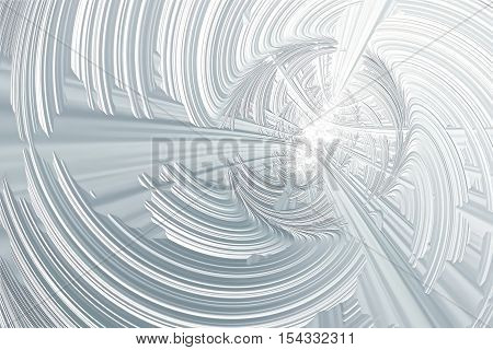 Fractal white background - computer-generated image. Digital art: lines and curves like tunnel or subway. Trendy backdrop for banners, posters, web design.