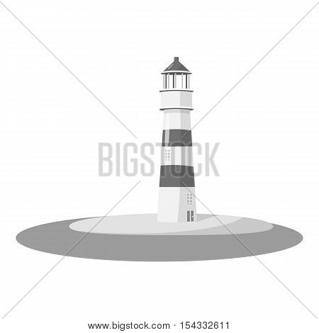 Lighthouse icon. Gray monochrome illustration of lighthouse vector icon for web