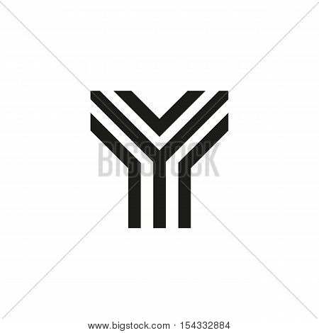 Unusual geometric letter Y. Architecture vector logo. Isolated monogram