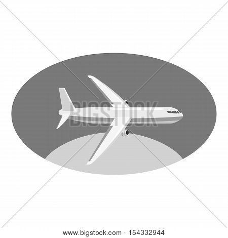 Airplane icon. Gray monochrome illustration of airplane vector icon for web
