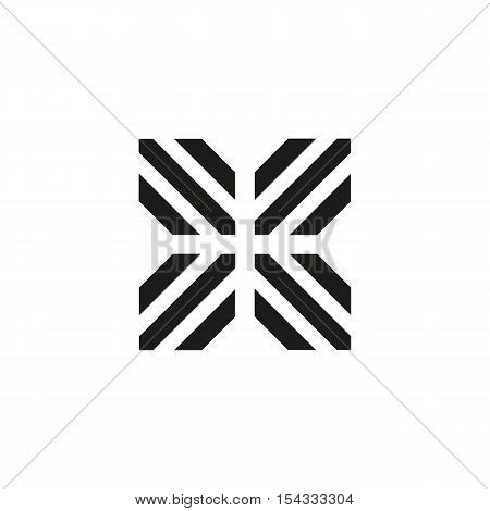 Unusual geometric letter X. Architecture vector logo. Isolated monogram