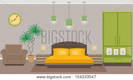 Bedroom interior with furniture including bed armchair wardrobe houseplant. Flat style vector illustration