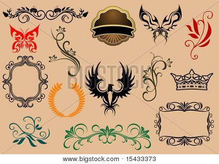 Set of royal heraldic elements 11. Jpeg version also available in gallery