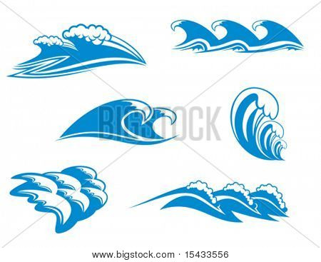 Set of wave symbols 6 for design. Jpeg version also available