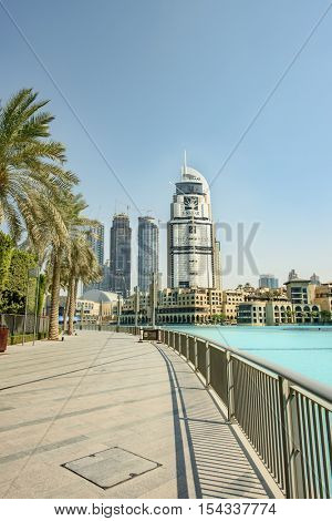 DUBAI, UAE - OCTOBER 11, 2016: The Address Hotel Downtown Dubai which caught fire on 31st Dec 2016 is now being refurbished and promises to be restored beyond its original beauty
