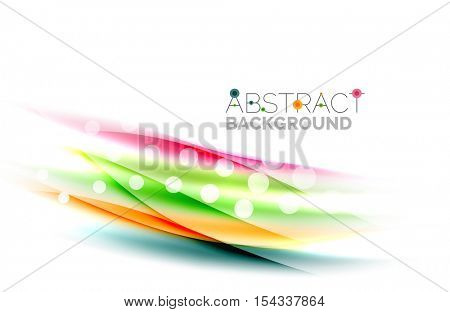 Blurred color waves, lines. Vector abstract background with copyspace