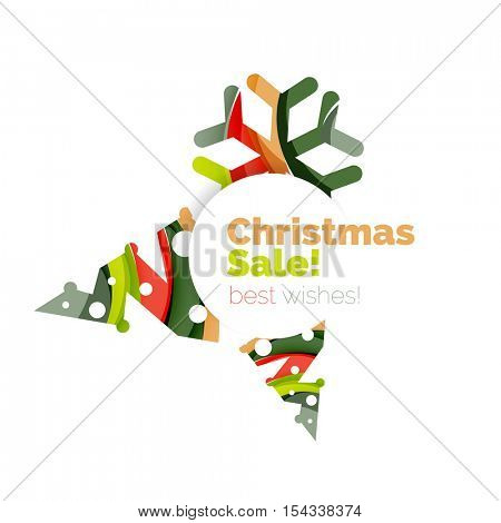 Christmas geometric abstract sale promo banner. Vector illustration