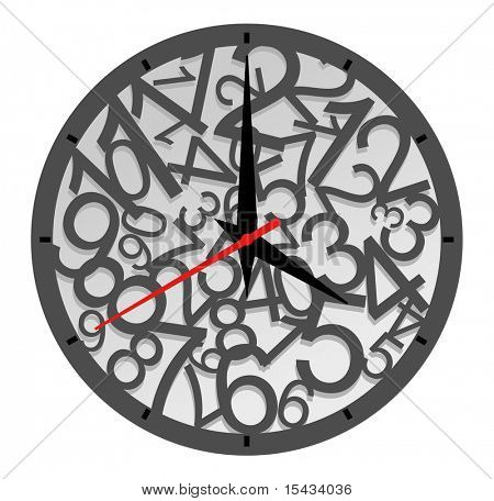 Natural clock icon isolated on white for design. Vector version also available