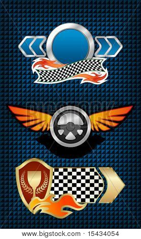 Isolated racing symbols and icons for design. Jpeg version also available
