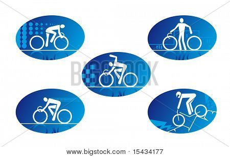 Set of bicycle sport icons for design. Vector version also available in gallery
