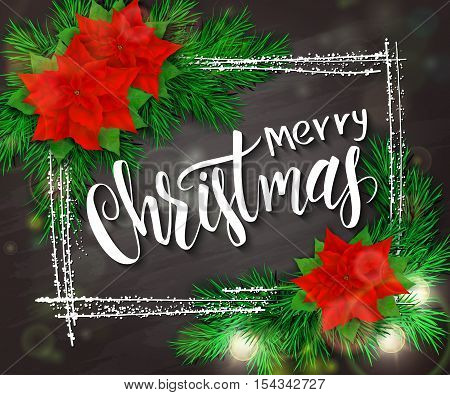 vector hand drawn christmas lettering greetings text - merry christmas - with frame, christmas brunch, poinsettia flowers and bulb garland on blackboard.