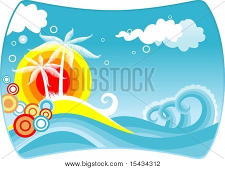 Tropical abstract background with palms and sunset. Jpeg version also available