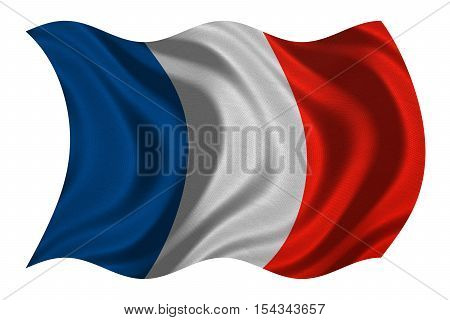 French national official flag. Patriotic symbol banner element background. Correct colors. Flag of France with real detailed fabric texture wavy isolated on white 3D illustration