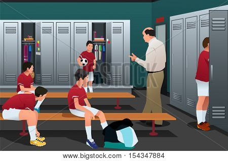 A vector illustration of Soccer Coach Talking to the Players in the Locker Room