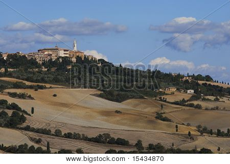 The town of Pienza in Tuscan landscape