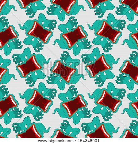 Ghost Seamless Pattern. Terrible Howling Wraith Background. Monster Scares Ornament. Spook With Open